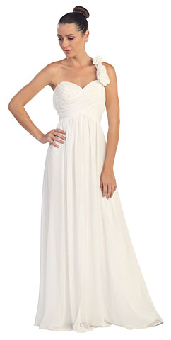 Floral Accent One Shoulder Long Formal Bridesmaid Dress. s6034-1.