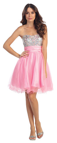 Strapless Sequins Bust Tulle Short Party Prom Dress. s6035.