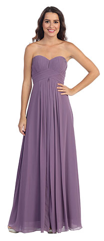 Strapless Pleated Bodice Long Formal Bridesmaid Dress. s6041.