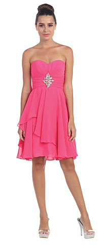 Strapless Ruched Short Formal Bridesmaid Dress. s605-1.