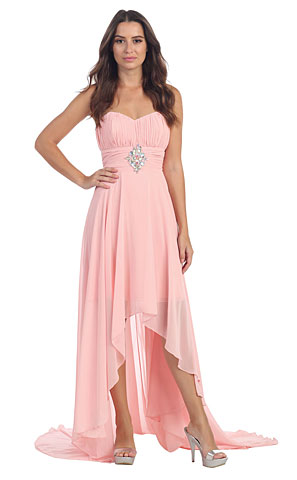 Strapless Ruched Hi-Low Formal Prom Dress with Rhinestones. s606-1.