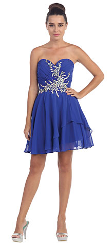 Strapless Shirred Beaded Bust Short Formal Prom Dress. s6060.