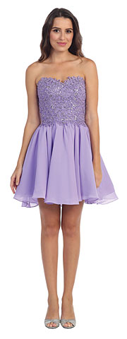 Strapless Lace & Beads Bodice Short Bridesmaid Dress. s6063-1.