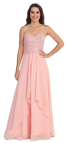 Strapless Lace Beaded Bodice Long Formal Bridesmaid Dress. s6063.