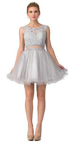 Beaded Lace Bust Mesh Babydoll Skirt Short Dress. s6178.