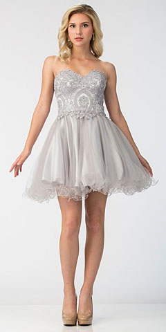 Strapless Beaded Lace Top Tulle Short Homecoming Dress. s6413.