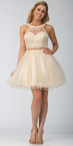Lace High Neck Top Sheer Waist Babydoll Homecoming Dress. s6417.
