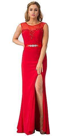 Round Neck Bejeweled Waist Long Formal Formal Dress. s6421.