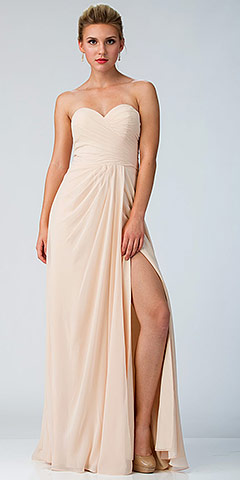 Strapless Pleated Overlap Bust Long Bridesmaid Dress. s6425.