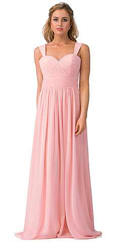 Sweetheart Neck Pleated Bust Long Bridesmaid Dress. s6427.