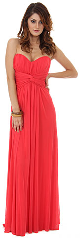 Strapless Twist Knot Waist Ruched Long Bridesmaid Dress. s8067.