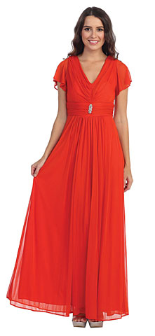 V-Neck Ruffled Sleeves Long Formal Mother of the Bride Dress. s8069.