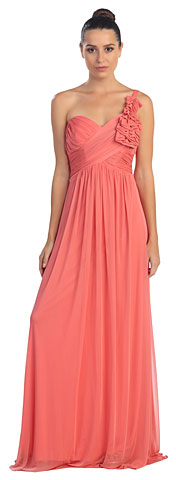 One Shoulder Ruched Bust Long Formal Bridesmaid Dress. s8074.