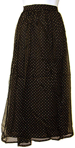Polka Dots Long Polyester Skirt