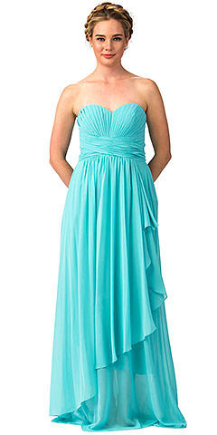 Strapless Pleated & Shirred Bust Long Bridesmaid Dress