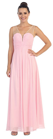 V-Neck Mesh Shoulders Shirred Bust Long Bridesmaid Dress