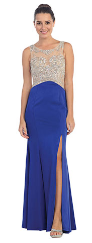 Rhinestones Mesh Top Flared Skirt Long Prom Dress. sl6116.