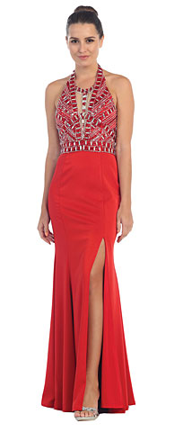 Halter Neck Rhinestones Bust Flared Skirt Long Prom Dress