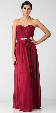 Strapless Floral Lace Bust Long Formal Bridesmaid Dress