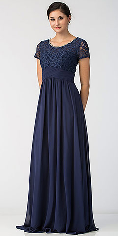 Floral Lace Top Short Sleeves Long Bridesmaid MOB Dress. sl6157.