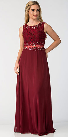 Mock Two Piece Lace Bodice Floor Length Formal Dress. sl6194.