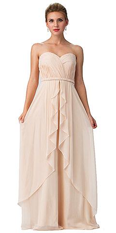 Strapless Shirred Bust Ruffled Skirt Long Bridesmaid Dress