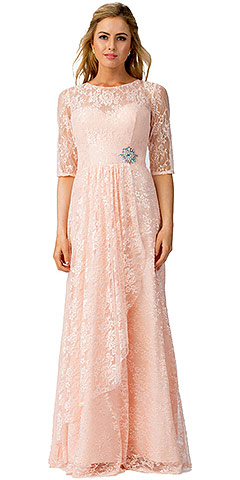Round Neck Half Sleeves Floral Mesh Long Bridesmaid Dress. sl6337.