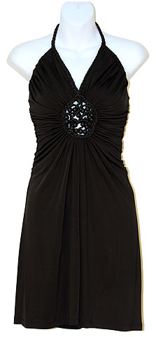 Halter Neck Party Dress with Front Keyhole. t4959.