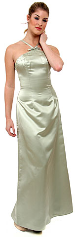 Crossed Front Beaded Bridesmaid Dress. wb028.