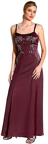 Criss Crossed Beaded Full Length Evening Dress. wlc010.