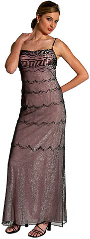 Metallic Poly Net Beaded Formal Dress. wlc2045.