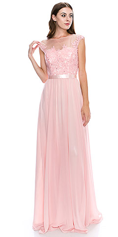 Round Neck Embroidered Lace Mesh Top Long Prom Dress. yg5001.