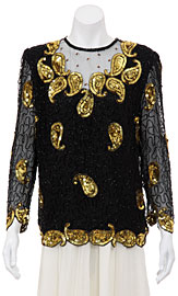 Golden Flares Hand Beaded Blouse. 052.