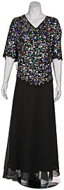 Plus size V-neck Sequined Formal Dress