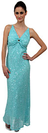 V-Neck Sequined Long Formal Dress with Keyhole
