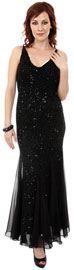 Spaghetti Strapped & Flared Formal Evening Dress