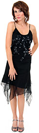 Asymmetric Sequin Beaded Formal Dress with Floral Print