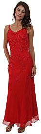 Cowl Neck Double Straps Long Beaded Formal Dress