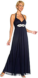 Halter Neck Rhinestones Belt Long Formal Evening Dress