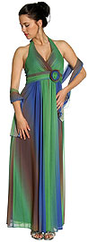 Multi Colored Halter Neck Formal Evening Dress
