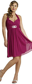 Halter Neck Shirred Short Bridesmaid Party Dress