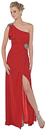 Single Shoulder Prom Dress with Slit And Patch Accent