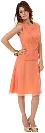 Two Tone Knee Length Bridesmaid Party Dress with