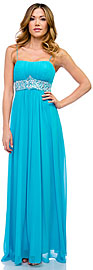 Empire Cut Long Formal Dress with Bejeweled Waist