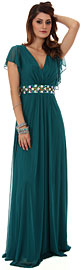 V-Neck Long Formal MOB Dress with Flutter Sleeves