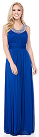 Pearls U-Neck Ruched Long Formal Bridesmaid Dress
