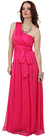 One Shoulder Belt Waist Long Formal Bridesmaid Dress