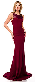 Faux Leather Panel Fitted Long Formal Evening Dress