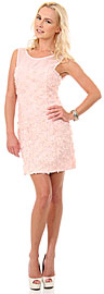 Rosette Short Party Dress with Sheer Neckline