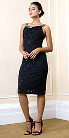 Knee Length Bejeweled Neck Lace Formal Cocktail Dress